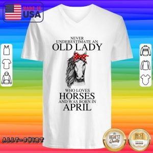 An Old Lady Who Loves Horses And Was Born In April V-neck