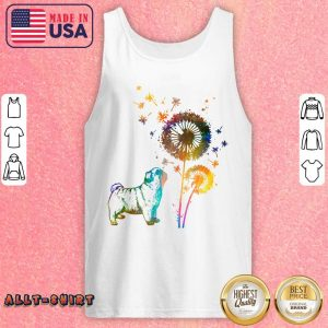 Colorful Pug With Dandelion Tank Top