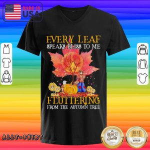 Every Leaf Speaks Bliss To Me Fluttering From The Autumn Tree Hippie Halloween V-neck