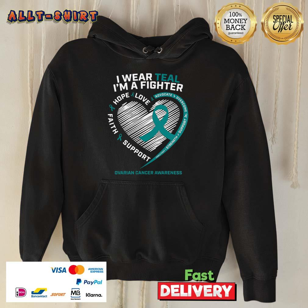 I'm A Fighter Love Hope Faith Support Ovarian Cancer Awareness Hoodie