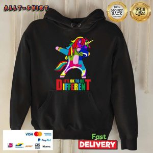 Autism Unicorn It Is Ok To Be Different Hoodie
