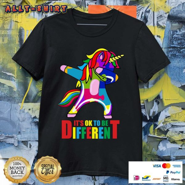 Autism Unicorn It Is Ok To Be Different Shirt