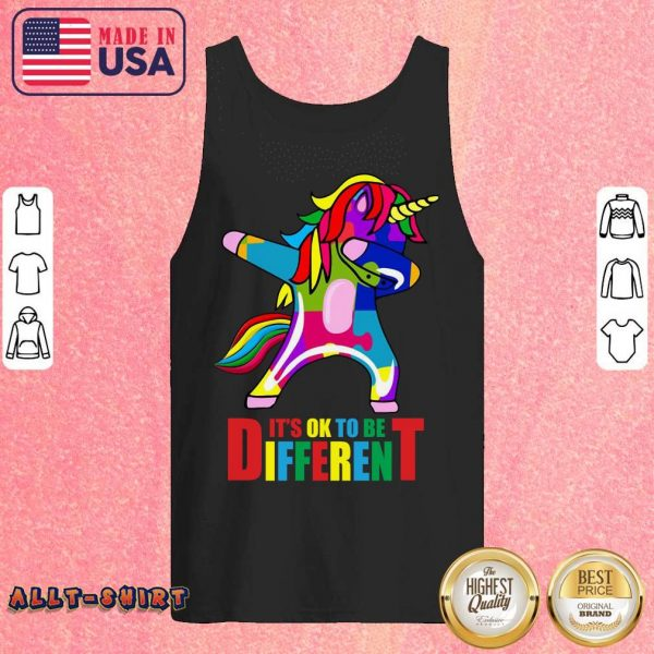 Autism Unicorn It Is Ok To Be Different Tank Top
