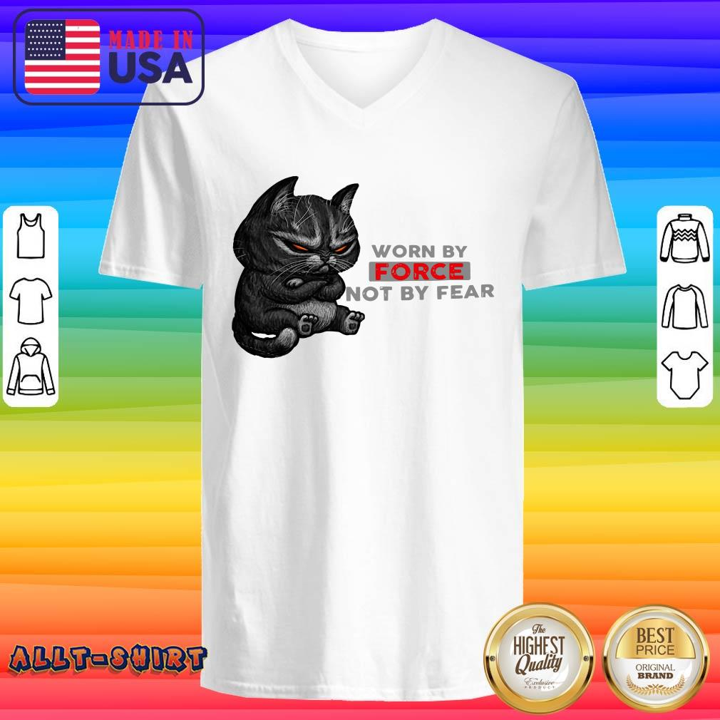 Black Cat Worn By Force Not By Fear V-neck