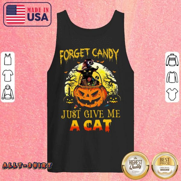 Forget Candy Just Give Me A Cat Halloween Tank Top