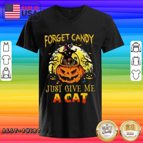 Forget Candy Just Give Me A Cat Halloween V-neck