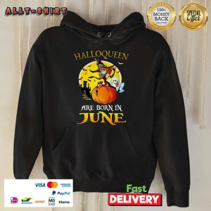 Halloqueen Are Born In June Ghost Witch Mask Halloween Hoodie