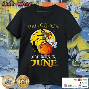 Halloqueen Are Born In June Ghost Witch Mask Halloween Shirt