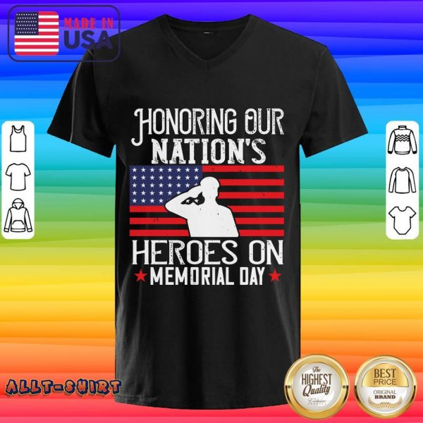 Honoring Our Nations Heroes On Memorial Day American Flag V-neck