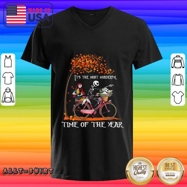 Jack Skellington Sally And Zero It Is The Most Wonderful Time Of The Year Halloween V-neck