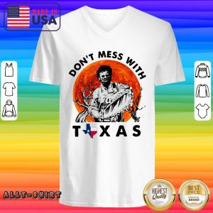 Leatherface Do Not Mess With Texas Halloween V-neck