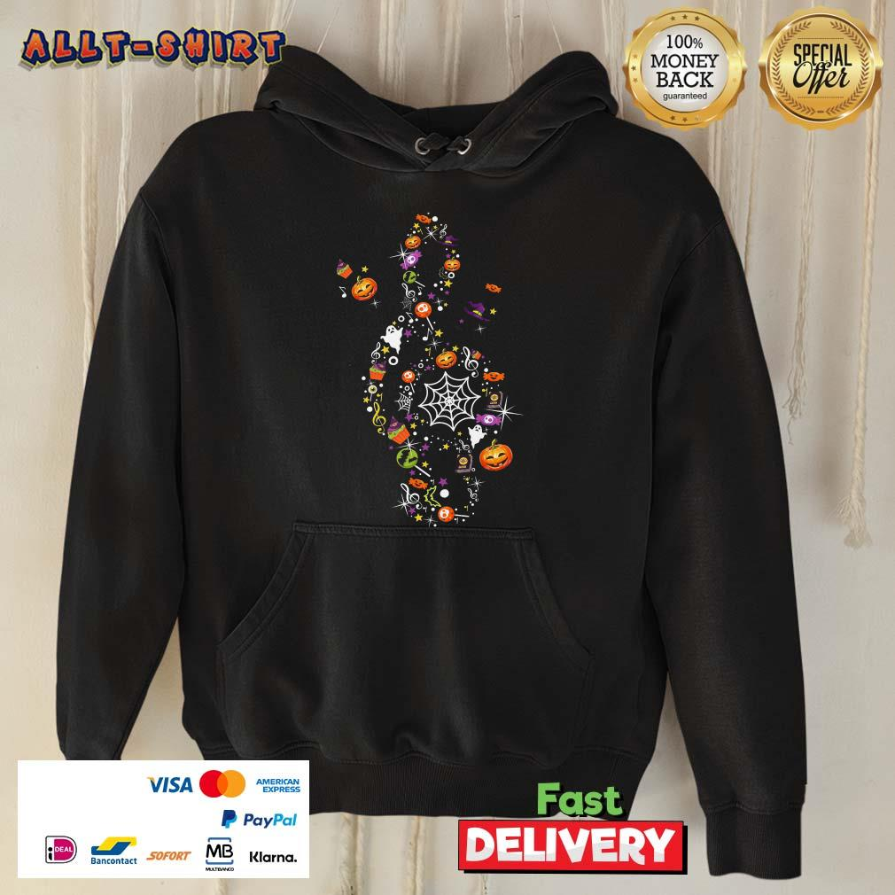 Pumpkin Candy Witch Ghost Treble Clef Happy Halloween Hoodie