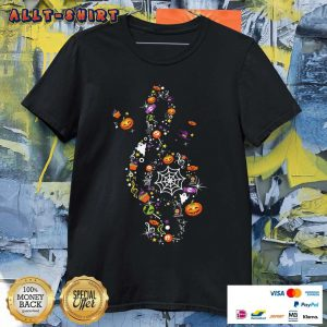 Pumpkin Candy Witch Ghost Treble Clef Happy Halloween Shirt