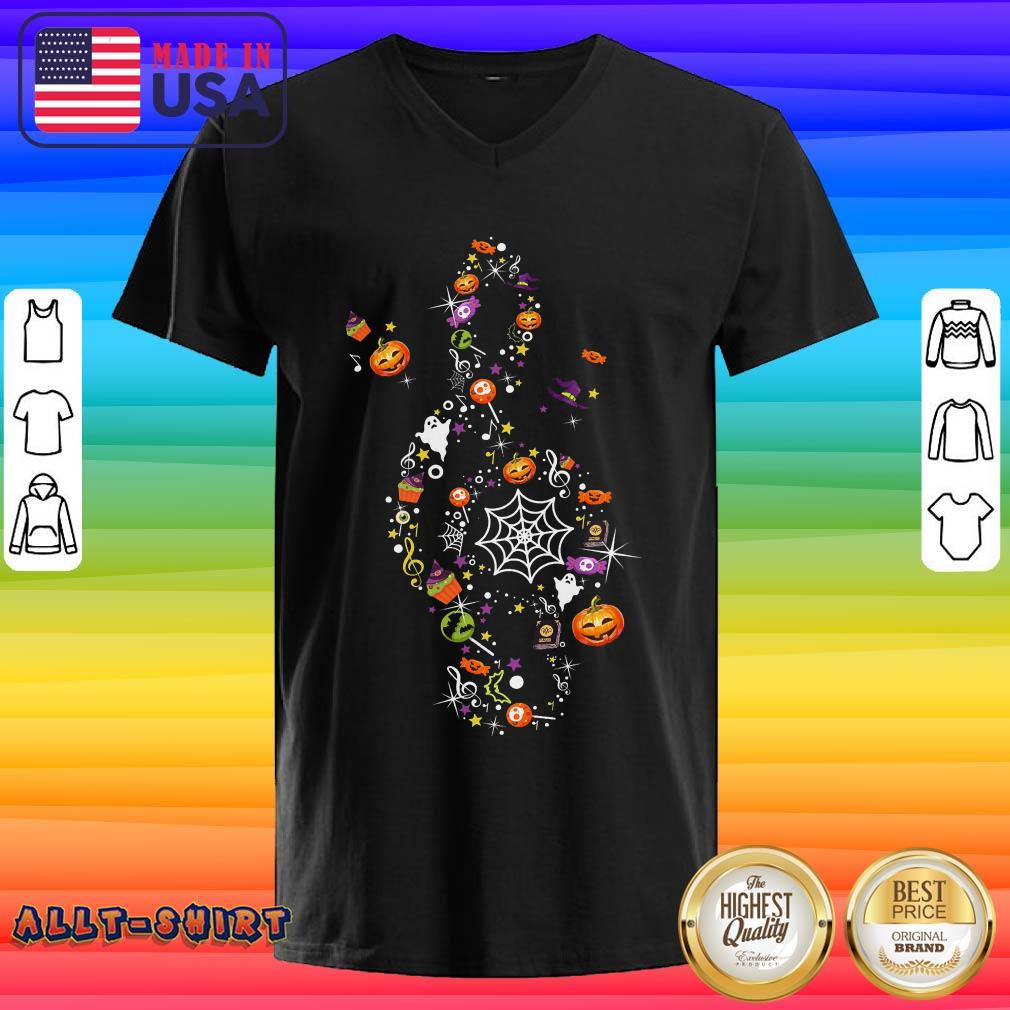 Pumpkin Candy Witch Ghost Treble Clef Happy Halloween V-neck