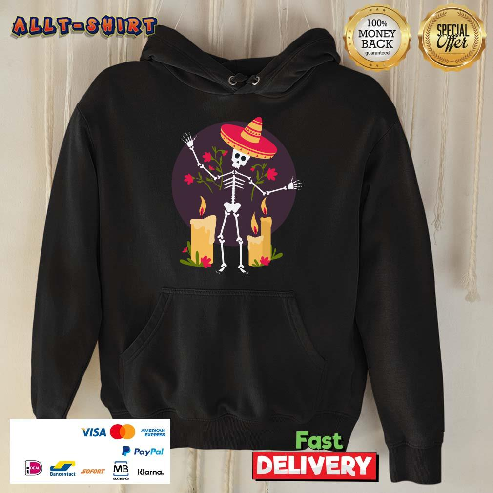 Skeleton Funny Day Of The Dead Dia De Muertos Candle Hoodie