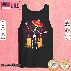 Skeleton Funny Day Of The Dead Dia De Muertos Candle Tank Top