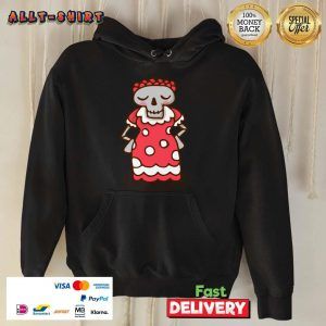 Skeleton Wear Red Dress Mexican Holiday Hoodie