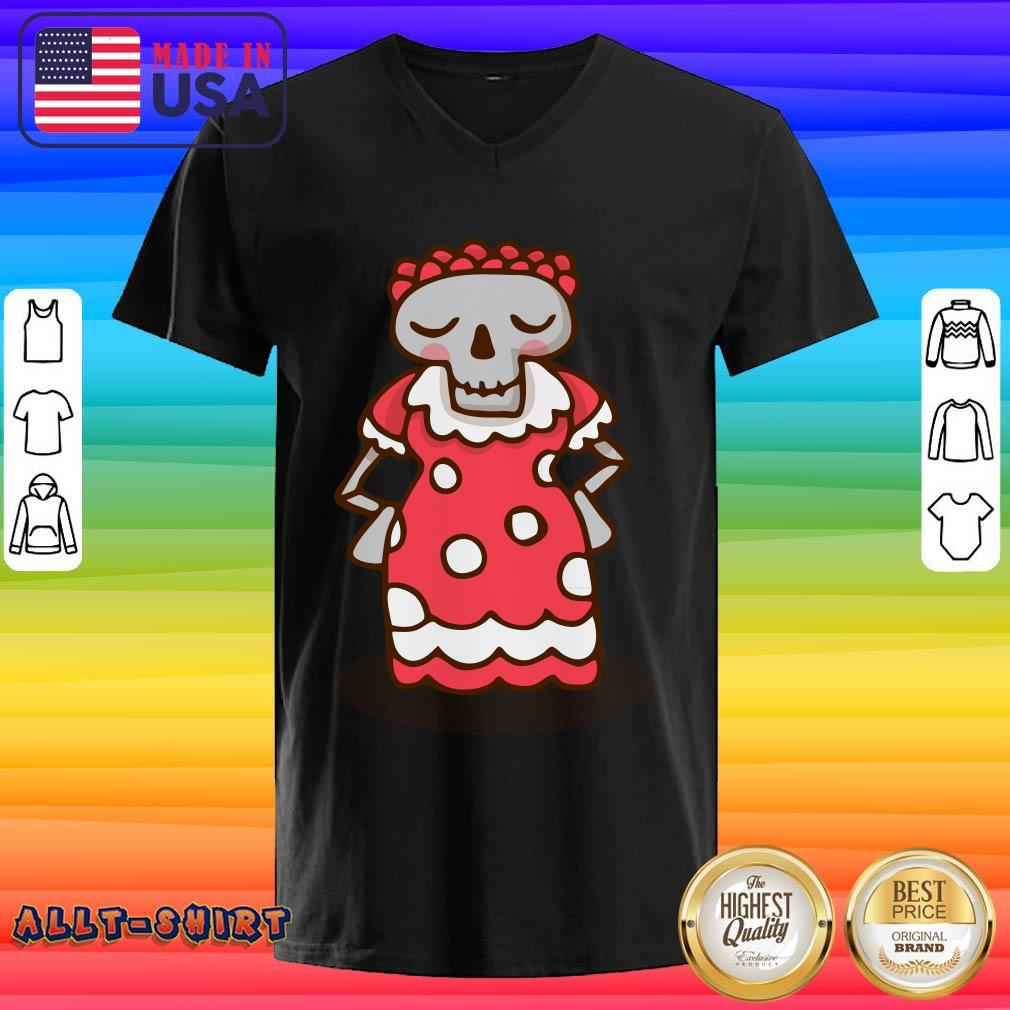 Skeleton Wear Red Dress Mexican Holiday V-neck