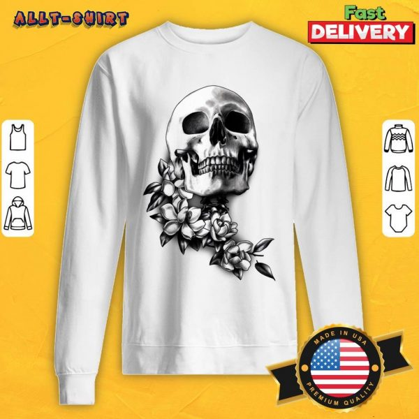 Skull And Magnolia Flowers Day Of The Dead Sweatshirt