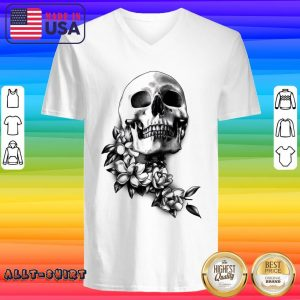 Skull And Magnolia Flowers Day Of The Dead V-neck