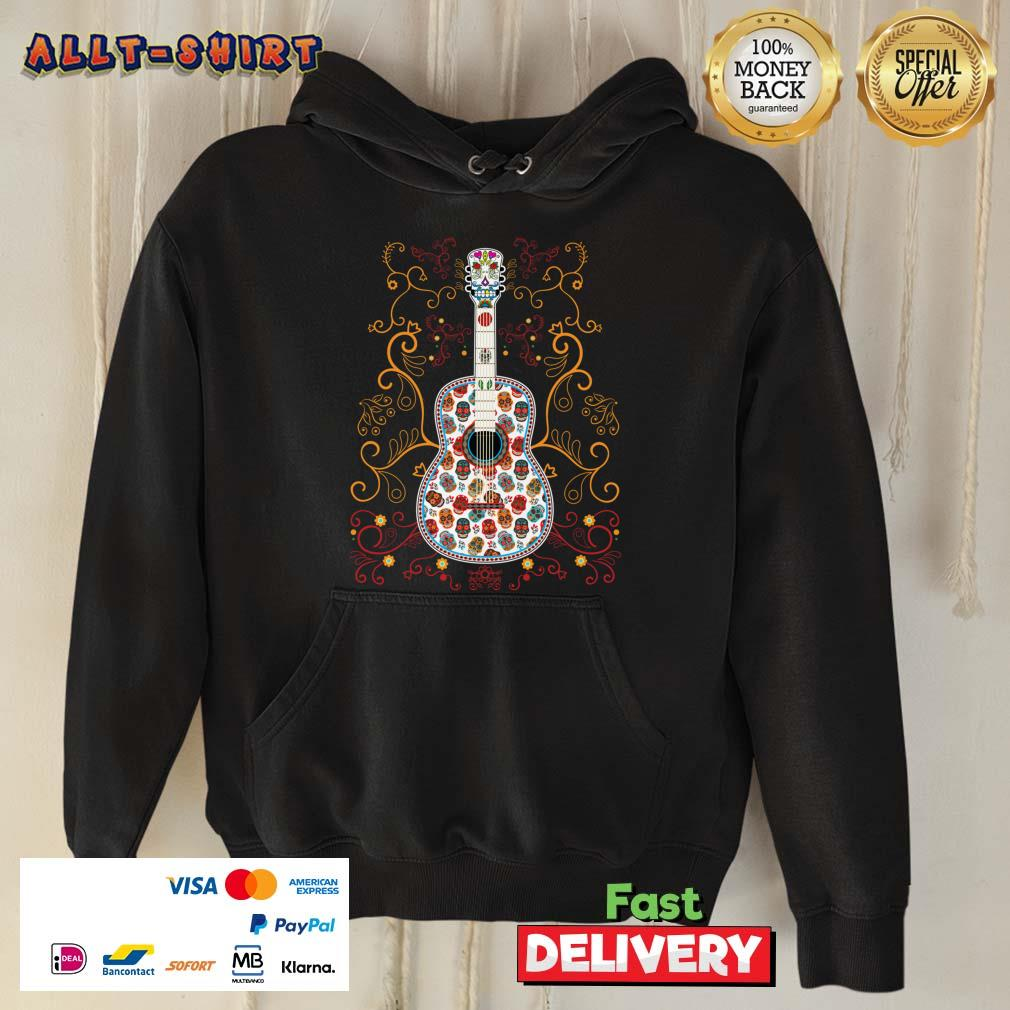 Sugar Skull Colorful Guitar Day Of The Dead Hoodie