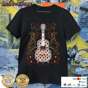 Sugar Skull Colorful Guitar Day Of The Dead Shirt