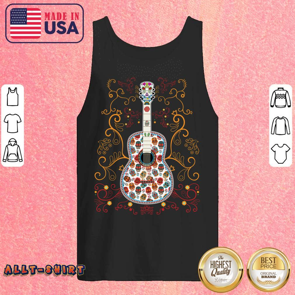 Sugar Skull Colorful Guitar Day Of The Dead Tank Top