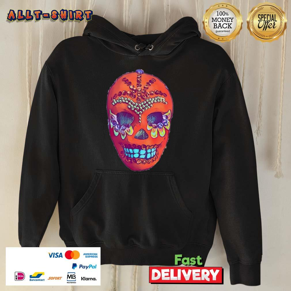 Sugar Skull Portrait Cool Mexican Orange Day Of The Dead Hoodie