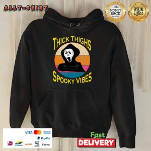 Thick Thighs Spooky Vibes Halloween Day Vintage Hoodie