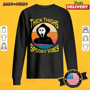 Thick Thighs Spooky Vibes Halloween Day Vintage Sweatshirt